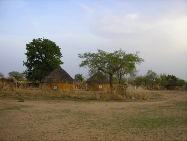 Thatch-roof houses in Sudan